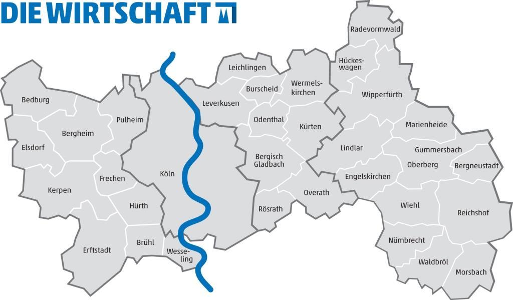 Das Verteilgebiet von Die Wirtschaft Köln