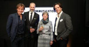 Weihten ihr Haus der Kommunikation in Köln ein: Ronald Focken, Tobias Grewe, Ute Berg, Florian Haller (v.l.). - copyright: Claudia Ast/Ralf Jürgens