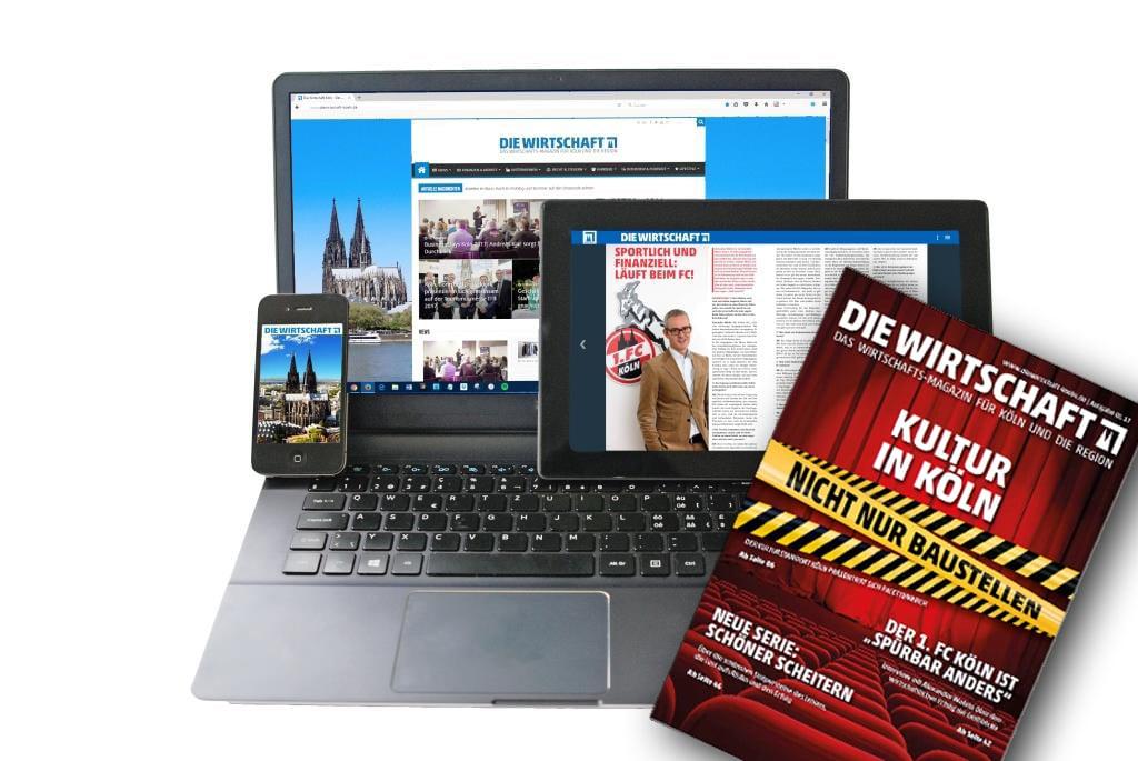 Ab sofort gibt es die Wirtschaft Köln nicht nur als Print-Magazin oder als Online-Portal, sondern auch als kostenlose App für das Smartphone und Tablet - copyright: Die Wirtschaft Köln
