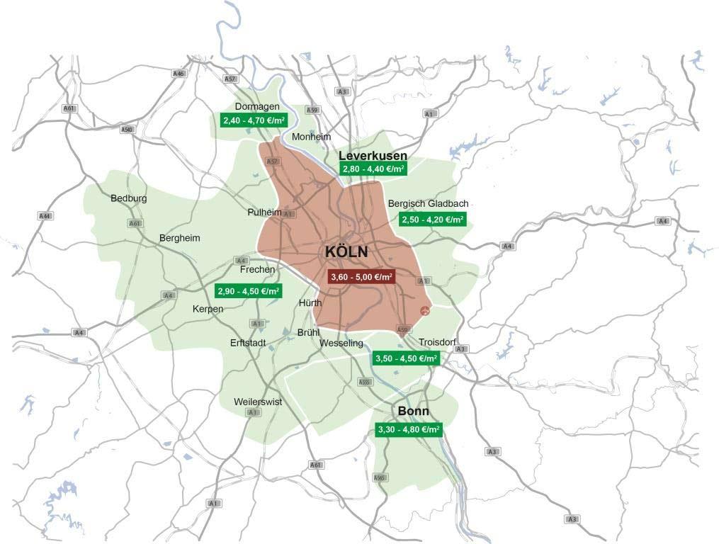 Mietpreisgefüge in der Logistikregion Köln copyright: Greif & Contzen