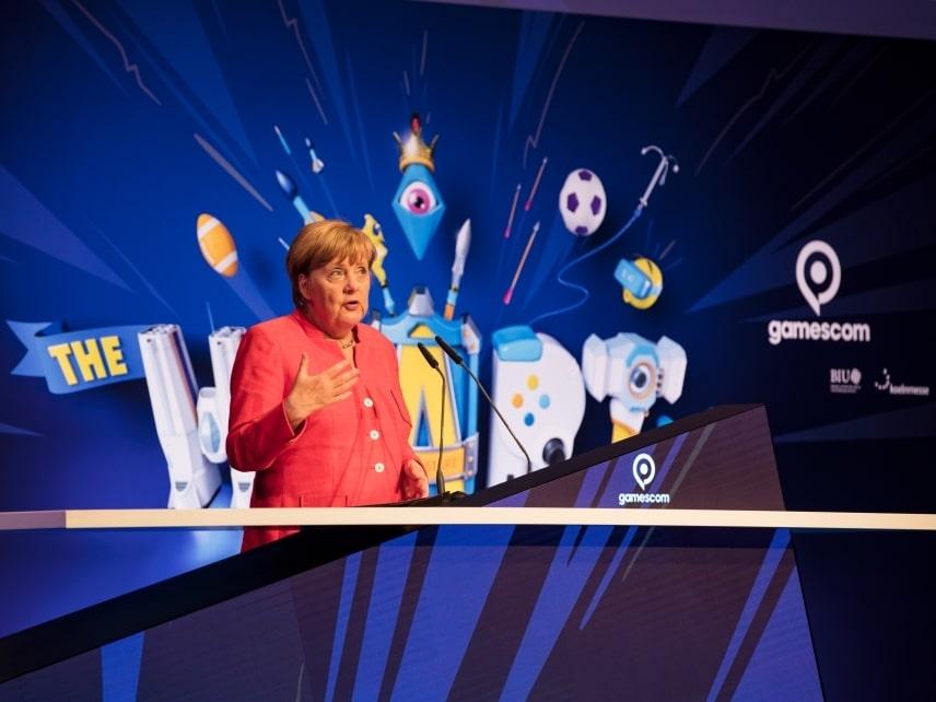 Bundeskanzlerin Dr. Angela Merkel eröffnete gamescom - copyright: Alex Weis / Die Wirtschaft Köln