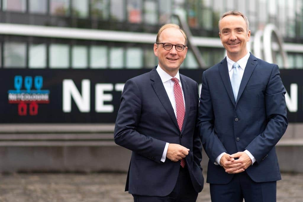 Die NetCologne Geschäftsführer Tim von Lepel und Mario Wilhelm. copyright: Marius Becker / NetCologne